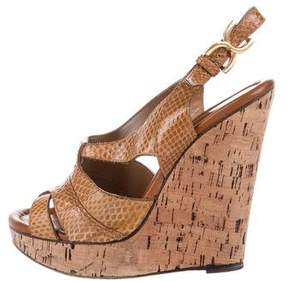 Chloé Snakeskin Platform Wedge Sandals