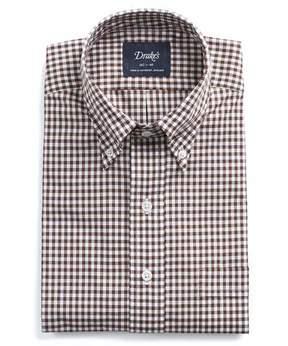 Drakes Drake's Button-down Brown Gingham Shirt