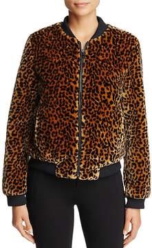 Bagatelle Leopard Faux-Fur Bomber Jacket