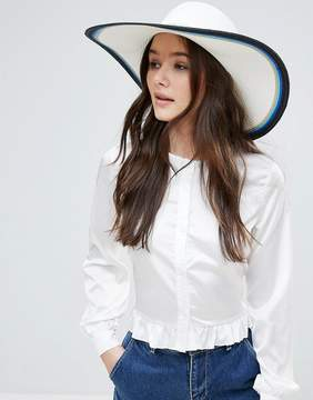 French Connection Color Block Oversized Stripe Floppy Straw Beach Hat