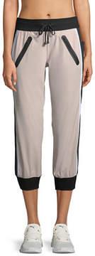 Blanc Noir Drawstring Capri Mesh-Panel Jogger Pants