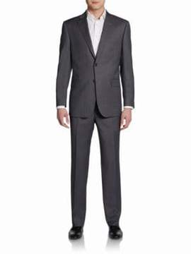 Saks Fifth Avenue BLACK Classic-Fit Striped Two-Button Wool & Silk Suit