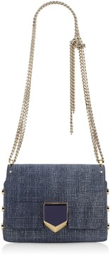 Jimmy Choo LOCKETT PETITE Light Indigo Denim Leather Shoulder Bag