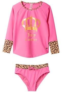 Juicy Couture Black Label Rash Guard with Contrasting Animal Print (Big Girls)