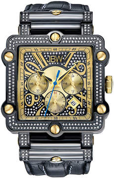 JBW Phantom Mens 2? CT. T.W Diamond Square Black Leather Strap Watch JB-6215-238-F