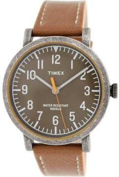 Timex Men's Originals T2P507 Brown Leather Analog Quartz Fashion Watch