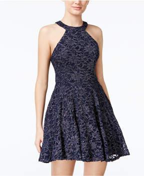 B. Darlin Juniors' Glitter Lace Fit & Flare Dress