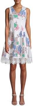 Donna Ricco Women's Laser-Cut Floral Flare Dress