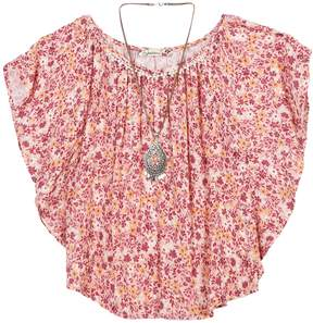 Speechless Girls 7-16 Floral Print Angel Sleeve Tunic with Necklace