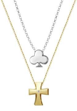 Alex Woo Little Faith 14K Yellow Gold Diamond Cross & Sterling Silver Club 2-Piece Necklace Set - 0.01 ctw