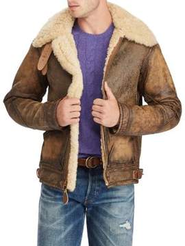 Polo Ralph Lauren Shearling-Trimmed Leather Bomber Jacket