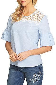 CeCe Ruched Cuff Clipped Dot Blouse