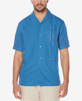 Cubavera Men's Retro Textured Embroidered Pocket Shirt