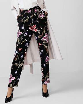 Express High Waisted Floral Tie Waist Ankle Pant