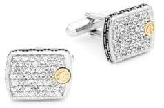 Effy White Sapphire, 18K Yellow Gold and Sterling Silver Cufflinks