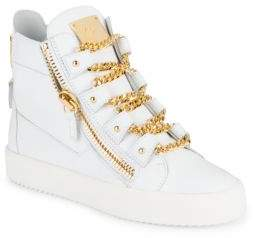 Giuseppe Zanotti Leather Chain Lace-Detailed High-Top Sneakers