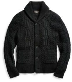 Ralph Lauren Merino Wool Shawl Cardigan Black Grey M