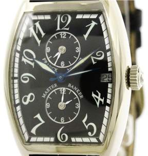 Franck Muller Master Banker 2852MB 18K White Gold / Leather Automatic 31mm Mens Watch