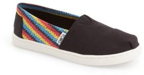 Toms Kid's 'Classic - Raffia Print' Canvas Slip-On
