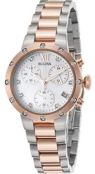 Bulova Watches Womens Diamonds Mother of Pearl Chronograph Two-Tone Stainless Steel Watch