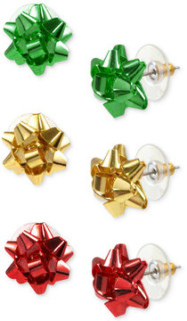 Charter Club Holiday Lane Gold-Tone 3-Pc. Set Colored Bow Stud Earrings, Created for Macy's