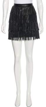 Neiman Marcus Cusp by Fringe Leather Skirt