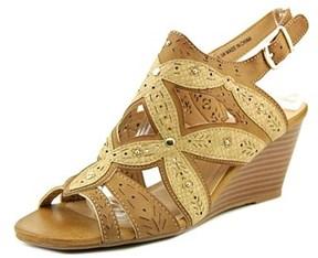 XOXO Shani Women Open Toe Synthetic Tan Wedge Sandal.