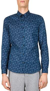 The Kooples Tropical Leaves Slim Fit Button-Down Shirt