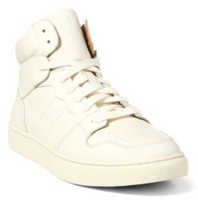 Ralph Lauren Jory Calfskin High-Top Sneaker Artist Cream 10