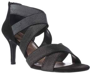 Style&Co. Sc35 Seleste Elastic Strap Dress Sandals, Black/silver.