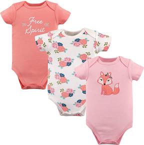 Hudson Baby Pink Fox Short-Sleeve Bodysuit Set - Infant