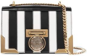 Balmain Striped Leather Shoulder Bag - Black