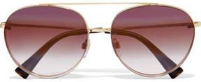 Valentino - Aviator-style Gold-tone Sunglasses