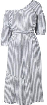 Apiece Apart Camellia One-shoulder Striped Cotton-voile Midi Dress - Gray