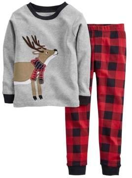 Carter's Infant Boys 2 Piece Gray Long Sleeve Shirt & Red Plaid Pants Set 9m