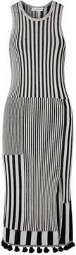 Altuzarra Lutetia Tasseled Ribbed Stretch-knit Midi Dress - Black