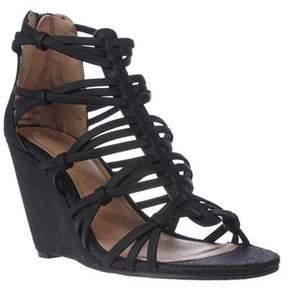 Mia Dylon Wedge Strappy Sandals, Black Vintage Lizard.
