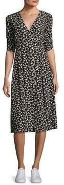 BA&SH Floral-Print Short-Sleeve Midi Dress