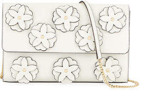 Neiman Marcus 3D Floral Flap Clutch Bag with Chain