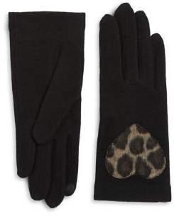 Portolano Leopard-Print Heart Tech Gloves