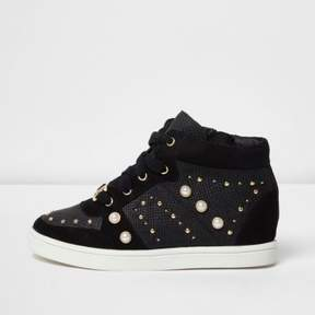 River Island Girls black high top embellished sneakers