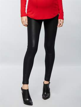 David Lerner Pea Collection Secret Fit Belly Seamed Faux Leather Maternity Leggings