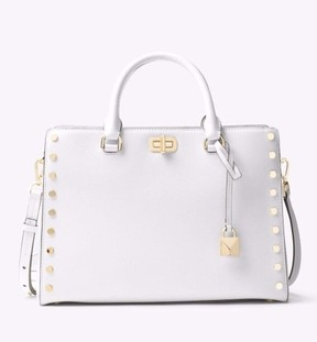 Michael Kors NWT Sylvie Studded Leather Large Satchel Tote Optic White Gold - OPTIC WHITE - STYLE