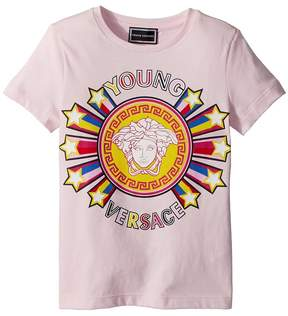 Versace Kids Short Sleeve Tee with Logo Graphic Girl's T Shirt