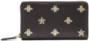 Gucci Bee-print zip-around grained-leather wallet