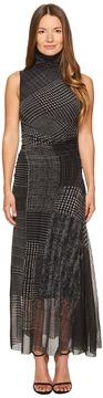 Fuzzi Turtleneck Sleeveless Menswear Tulle Dress Cover-Up Women's Dress
