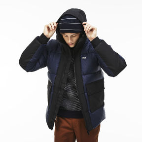 Lacoste Men's Live Hooded Colorblock Quilted Down Jacket
