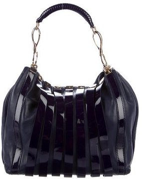 Versace Striped Patent Leather Hobo