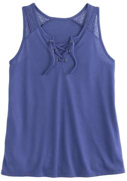 Mudd Girls Plus Size Lace-Up Tank Top