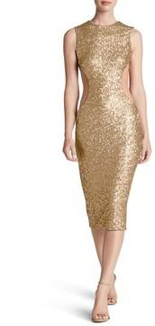 Dress the Population Women's Ryan Side Cutout Sequin Midi Dress